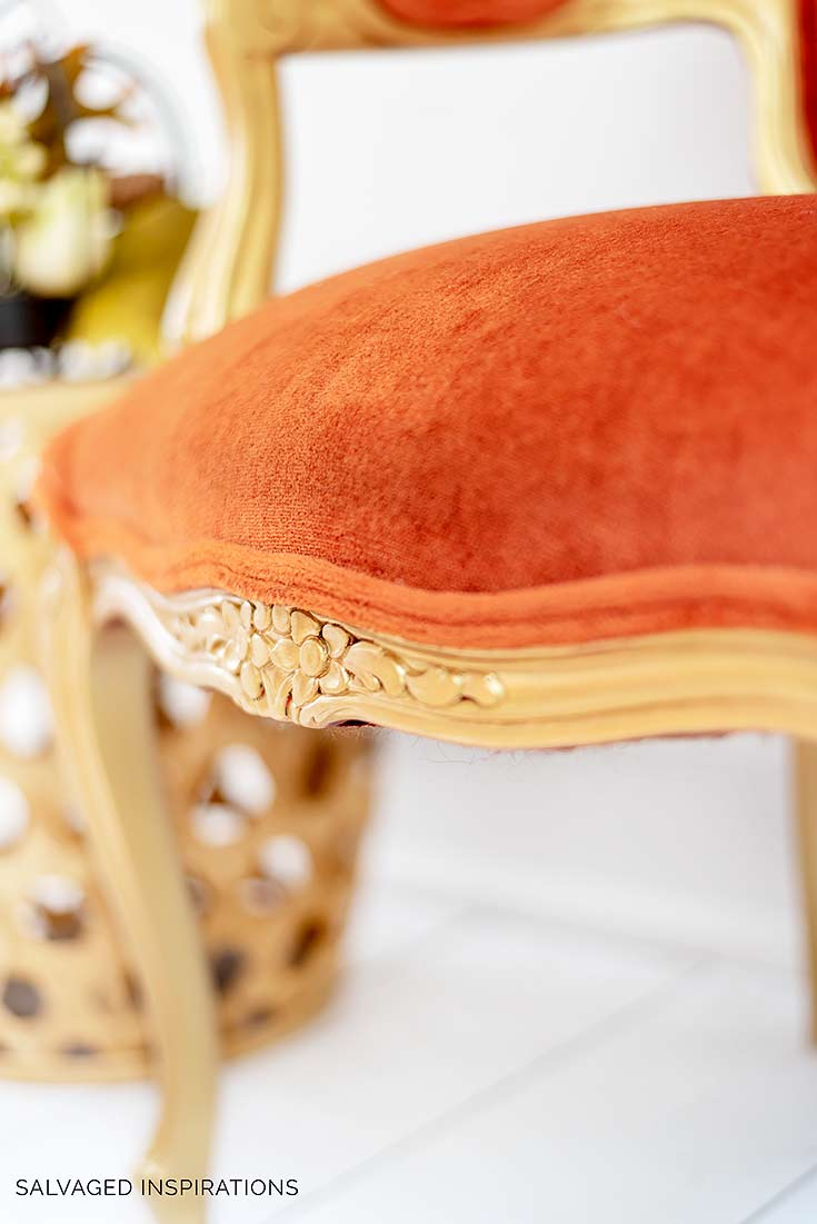 Close Up of Metallic Gold and Velvet Chair