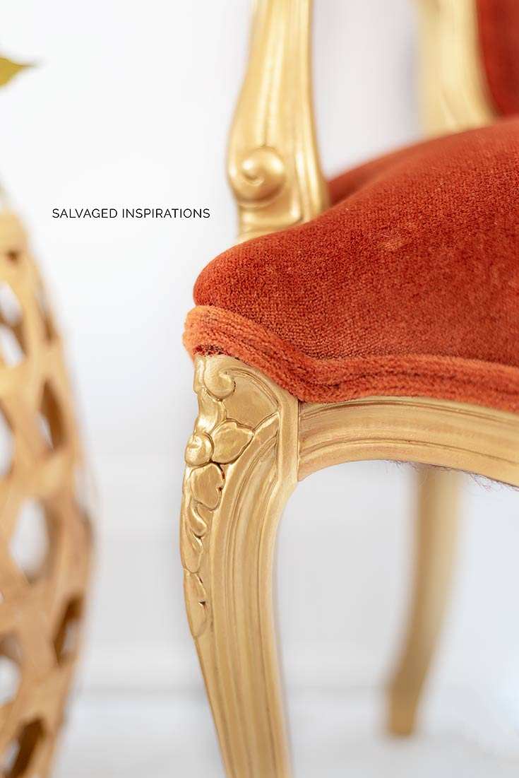 Peachy Gold Velvet Accent Chair Makeover Salvaged Inspirations Evergreenethics Interior Chair Design Evergreenethicsorg