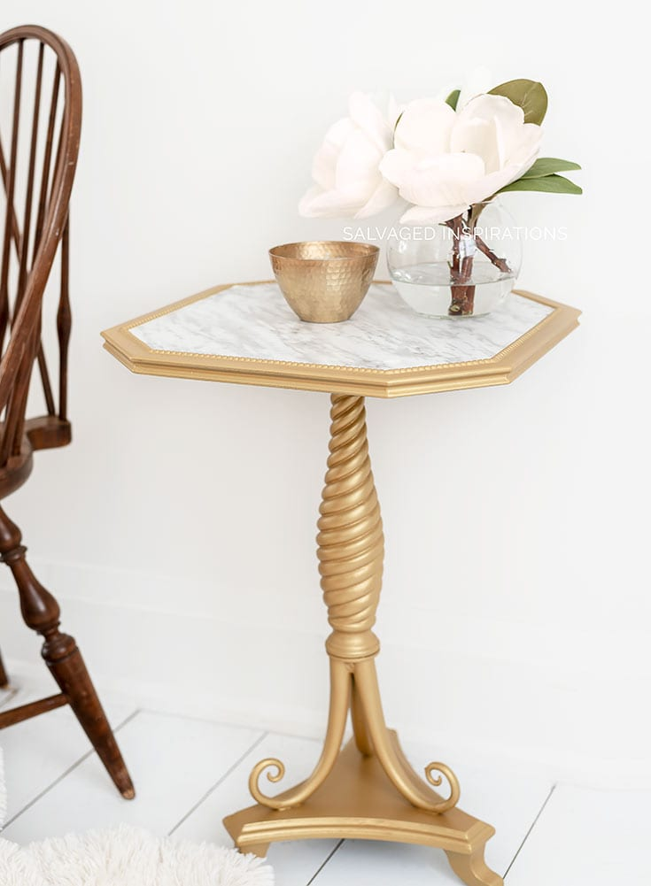 DB Gold Digger and Faux Marble Table Makeover
