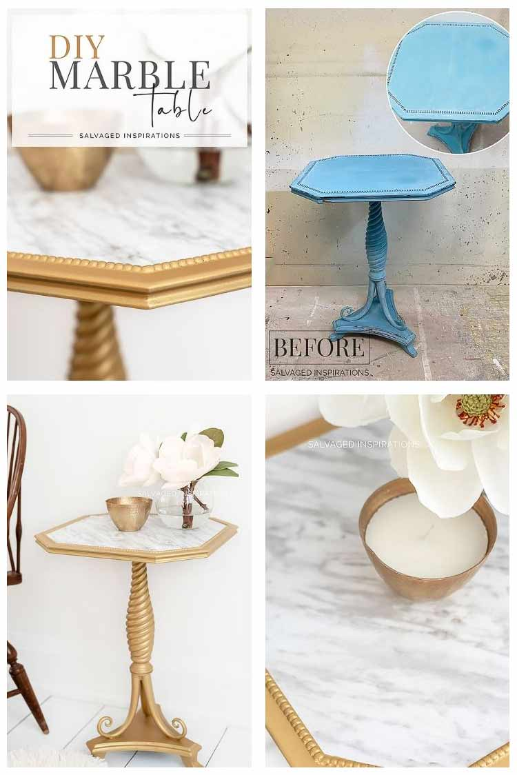 DIY Faux Marble Side Table - Before and After