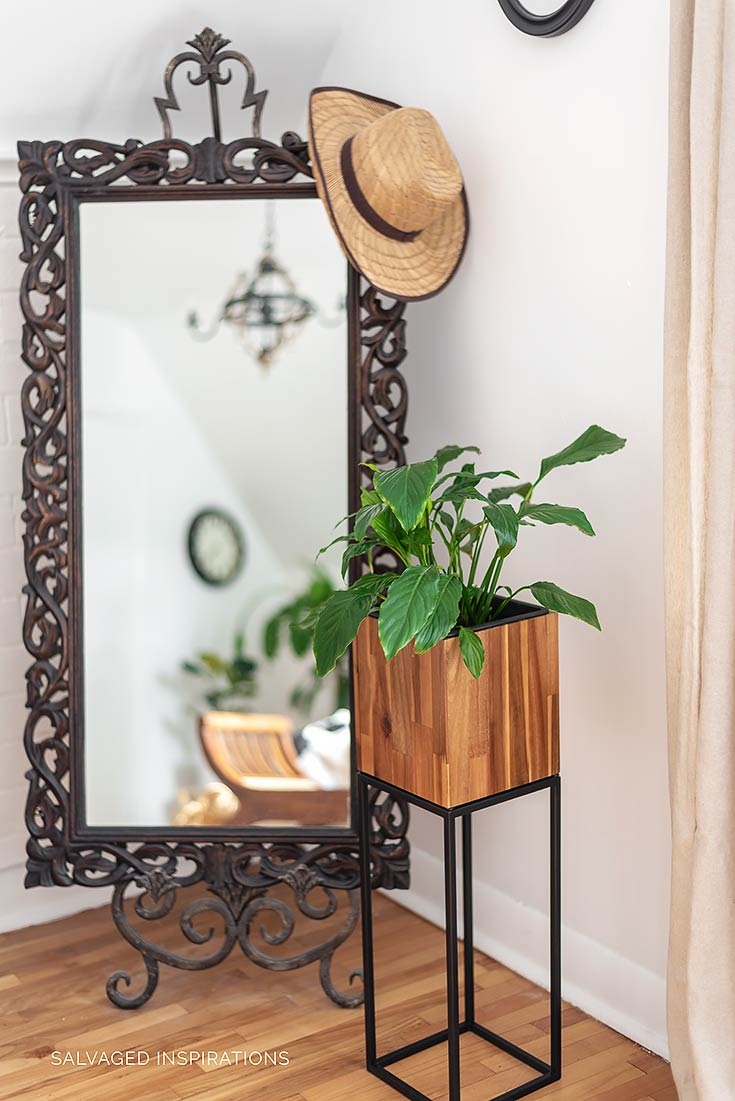 Fall Bedroom Makeover w Plant and Mirror