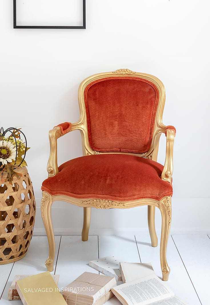 Gold Metallic Velvet Accent Chair Makeover