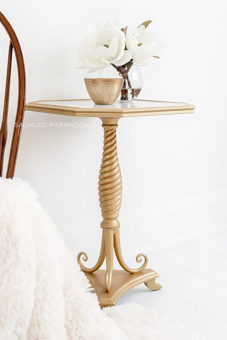 Gold Painted Side Table w Faux Marble Top