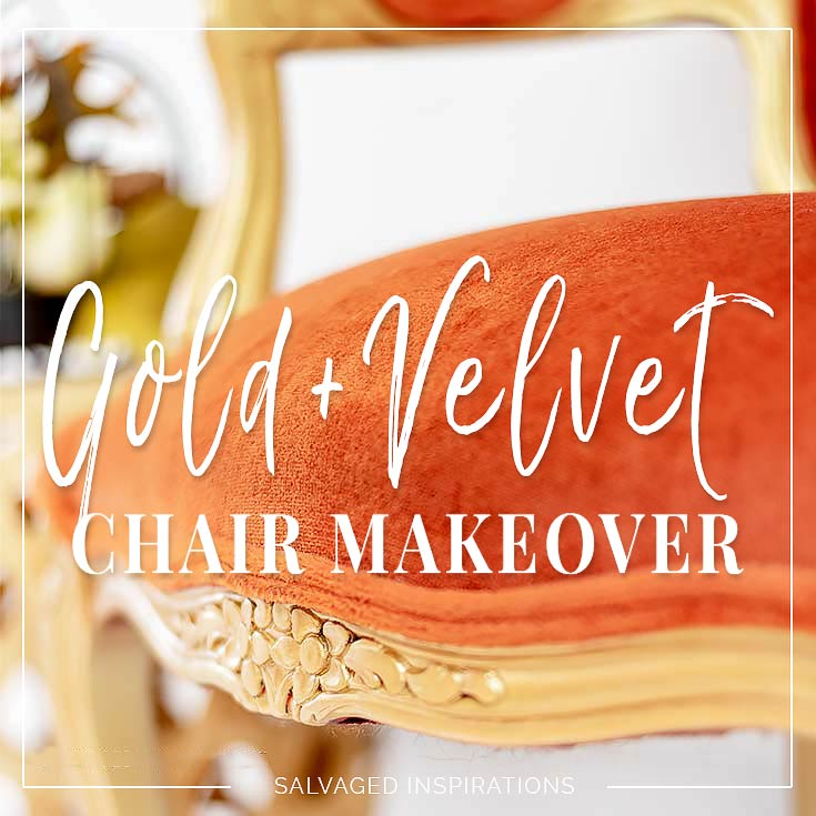Magnificent Gold Velvet Accent Chair Makeover Salvaged Inspirations Evergreenethics Interior Chair Design Evergreenethicsorg