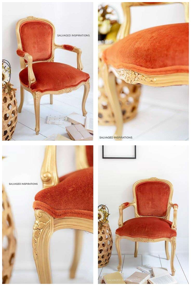 Gold and Velvet Accent Chair Makeover Collage