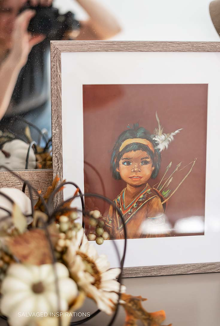 Indian Girl Thrift Art in Fall Bedroom Makeover