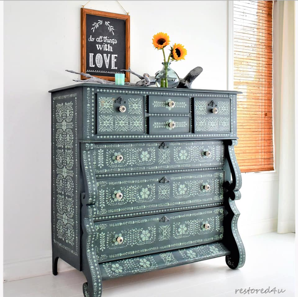 Restored 4 U Bone Inlay Empire Dresser