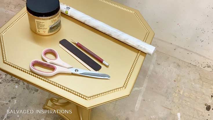 Supplies for DIY Faux Marble and Gold Table