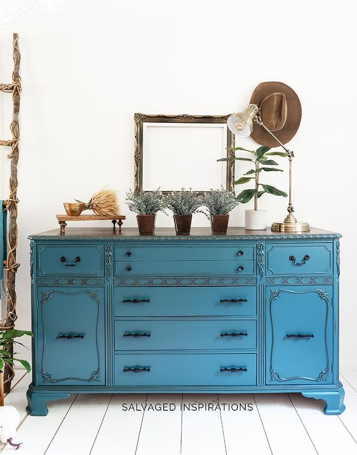 Antebellum Blue Painted Buffet w VanDyke Glaze Details