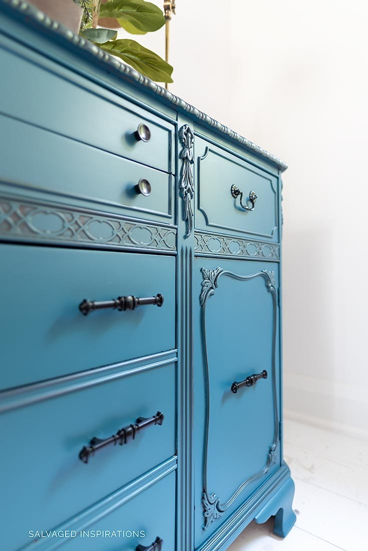 Blue Painted Buffet Glazed with VanDyke Brown