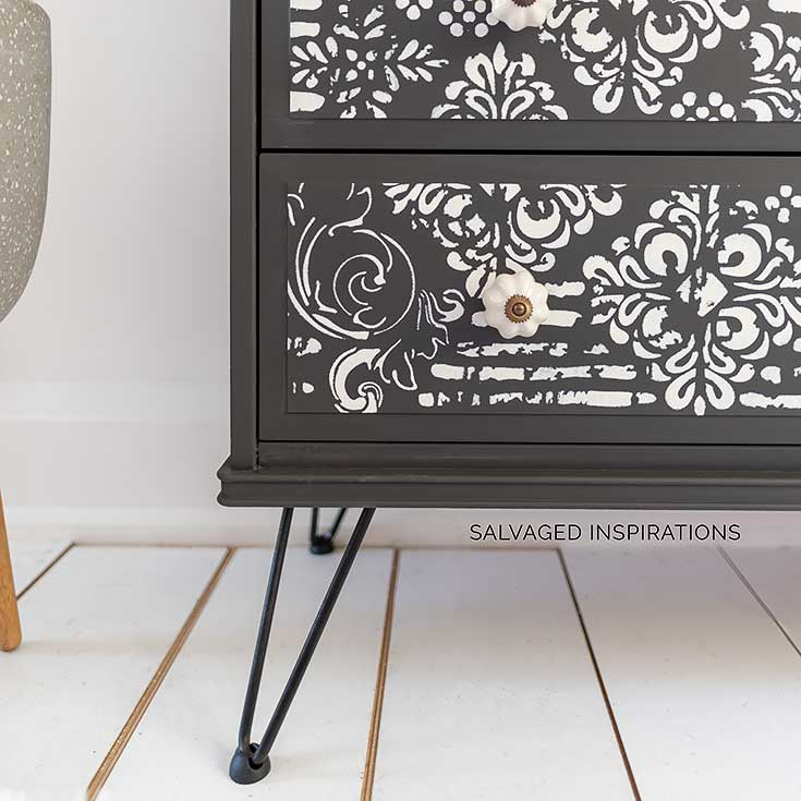 Close Up Of Stenciled Ikea Dresser Makeover