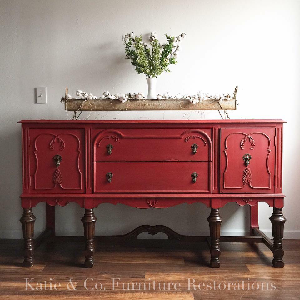 Katie Co Furniture Red Painted Buffet