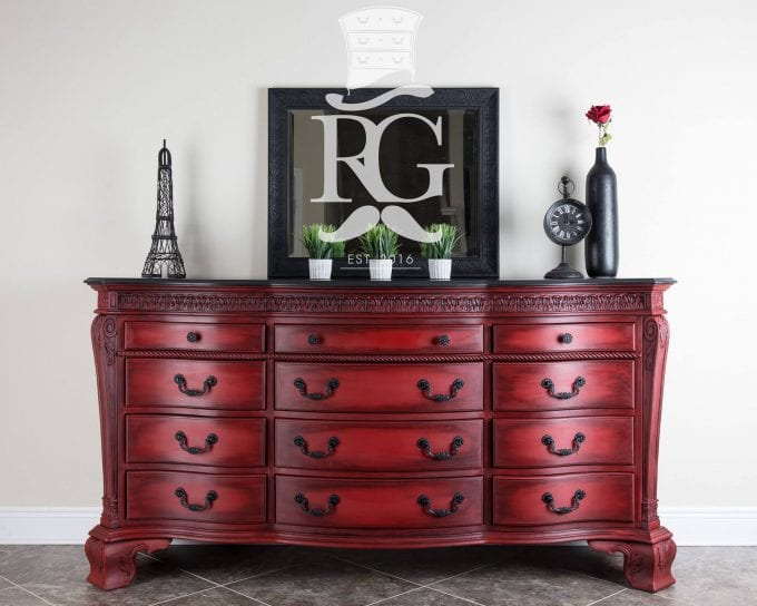 Refurbished Gentleman LLC Red Glazed Dresser