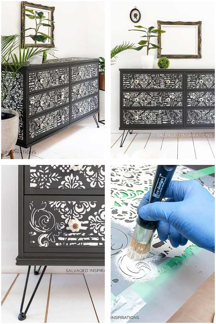Stenciled and Painted IKEA Dresser Makeover