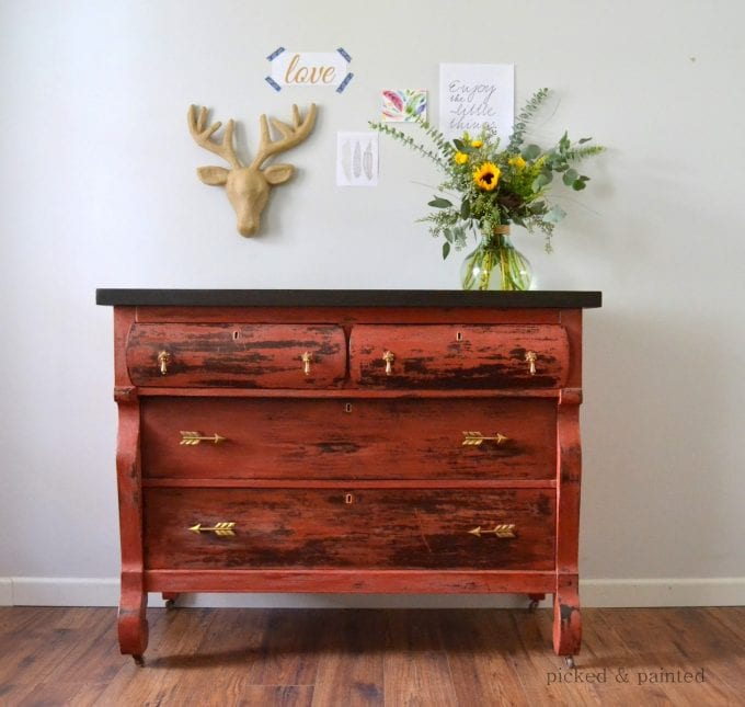 Helen Nicole Designs salem red old fashioned milk paint picked and painted empire dresser