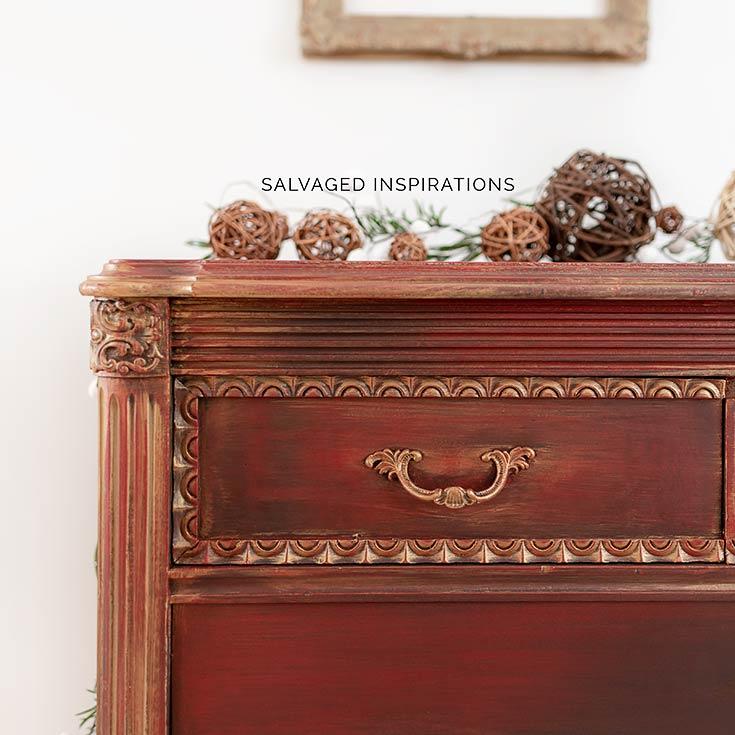 Close Up of Gold Metallic Layered Dresser Drawer