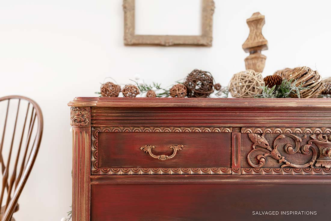 Close Up of Gold Metallic Layered Dresser