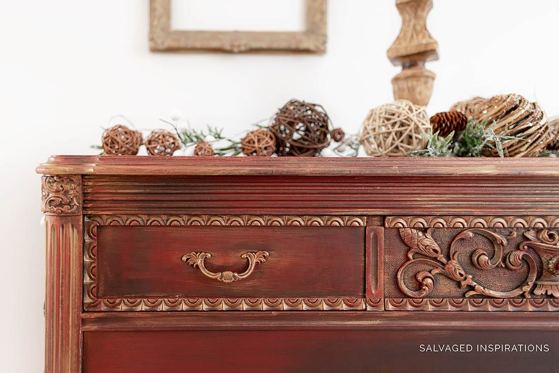 CloseUP of Gold Metallic Layered Dresser