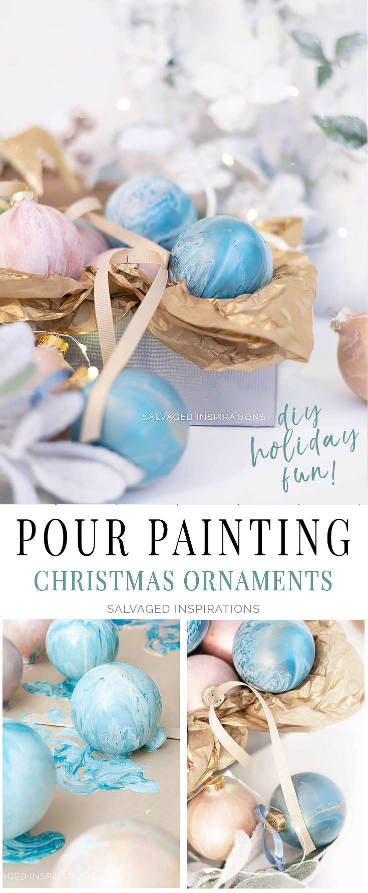 Dirty Pour Painting DIY Christmas Ornaments