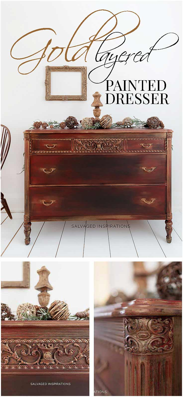 Gold Layered Painted Dresser Ideas