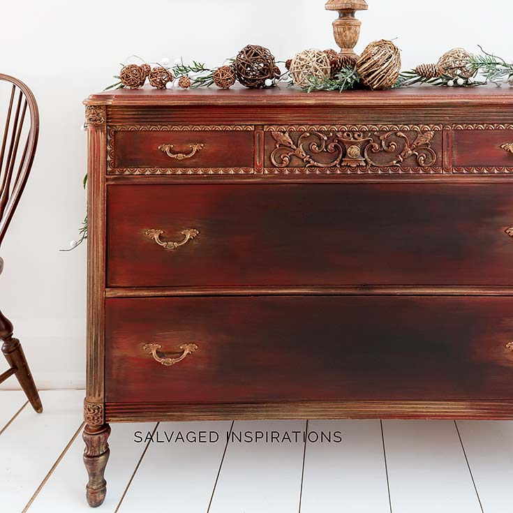 Gold Metallic and Red Vintage Dresser Makeover