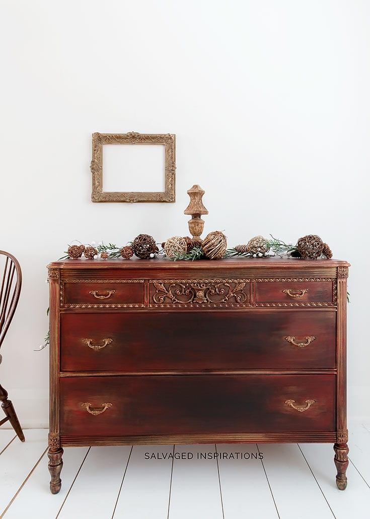 Holiday Vintage Dresser Makeover After