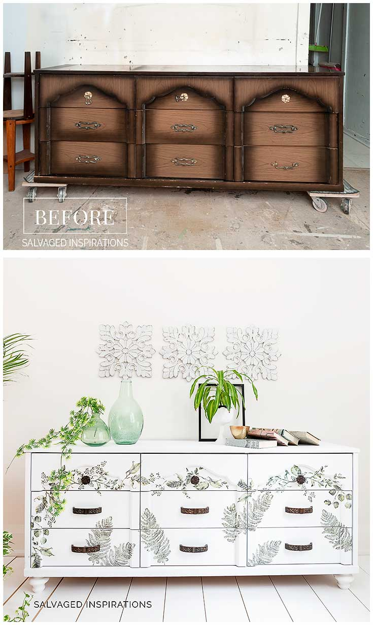 Painted Laminate Dresser Makeover Before and After