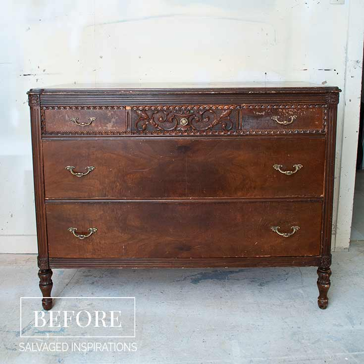 Vintage Metallic and Red Dresser - Befor