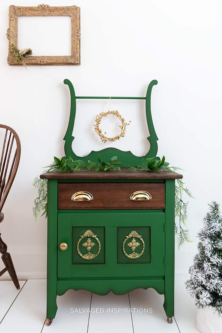 Christmas Washstand Makeover - Painted and Stained