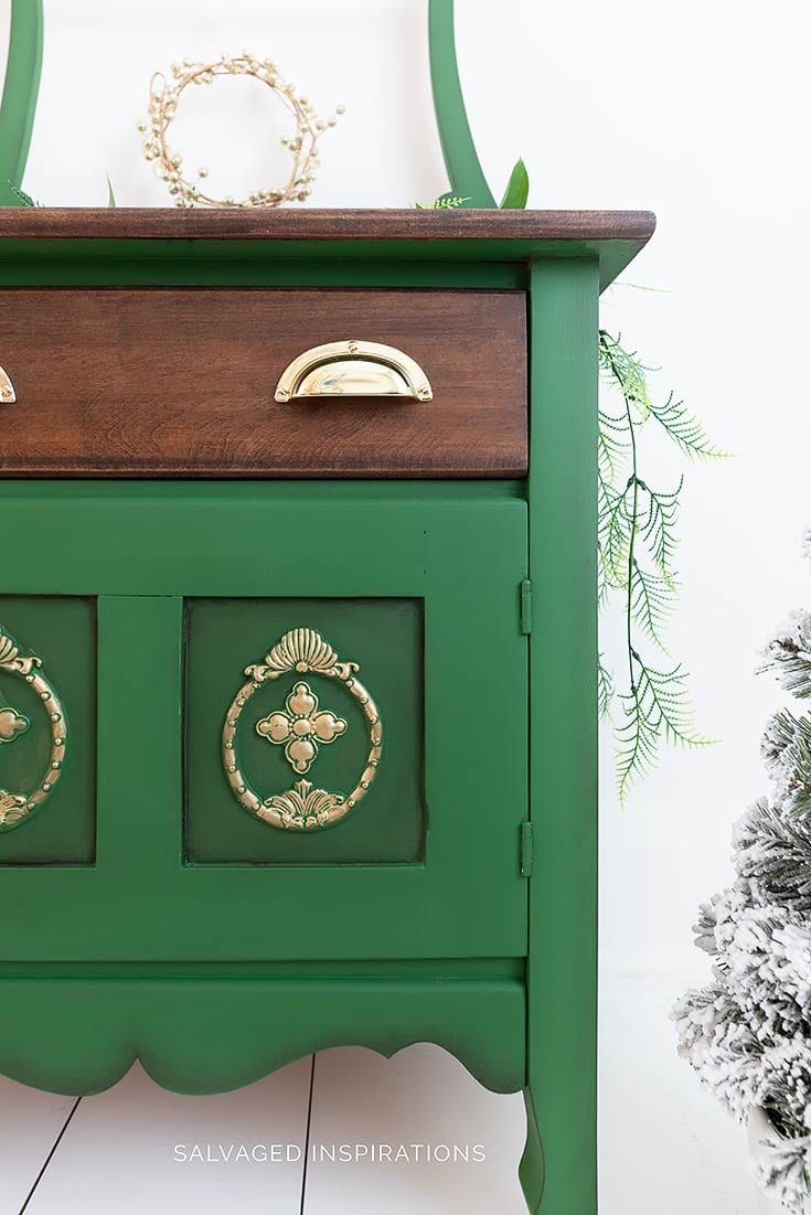 Evergreen Painted Vintage Washstand
