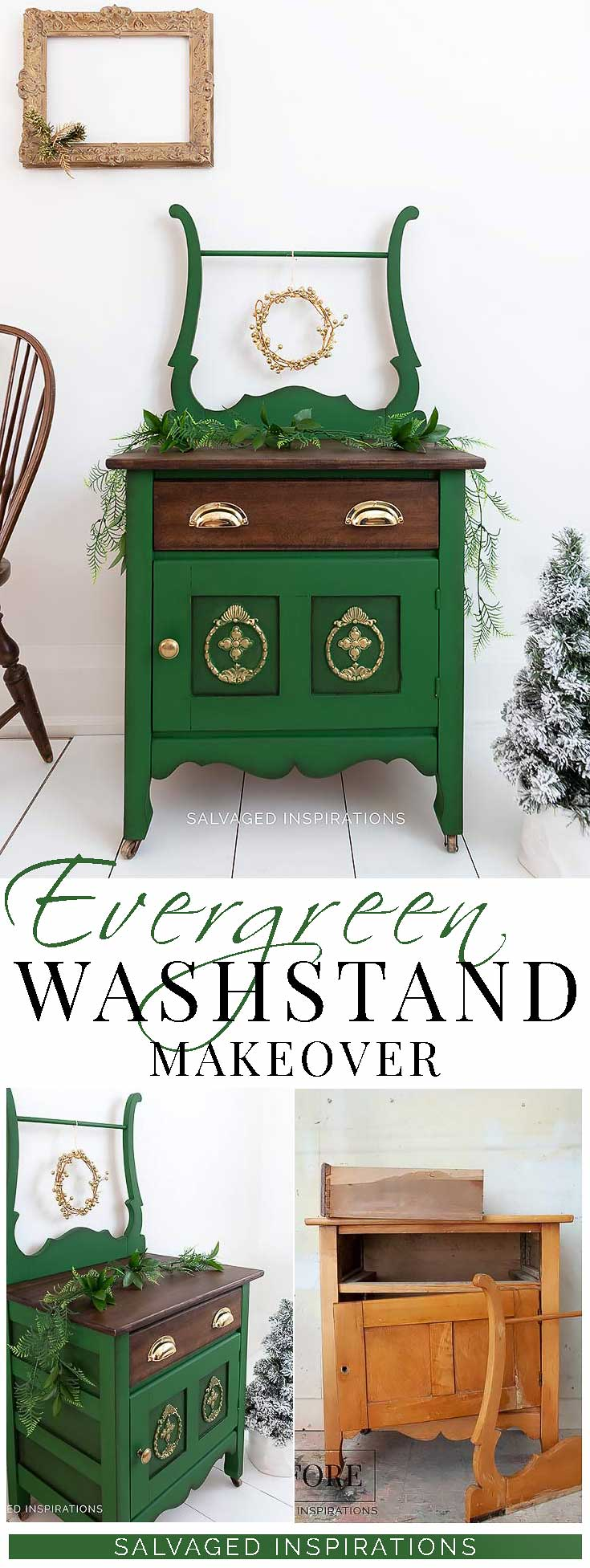 Evergreen Washstand Makeover - Painted and Stained