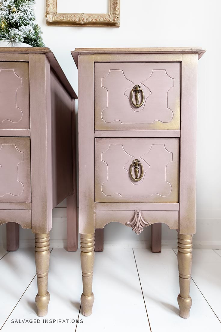 Tea Rose and Gold Painted Nightstands