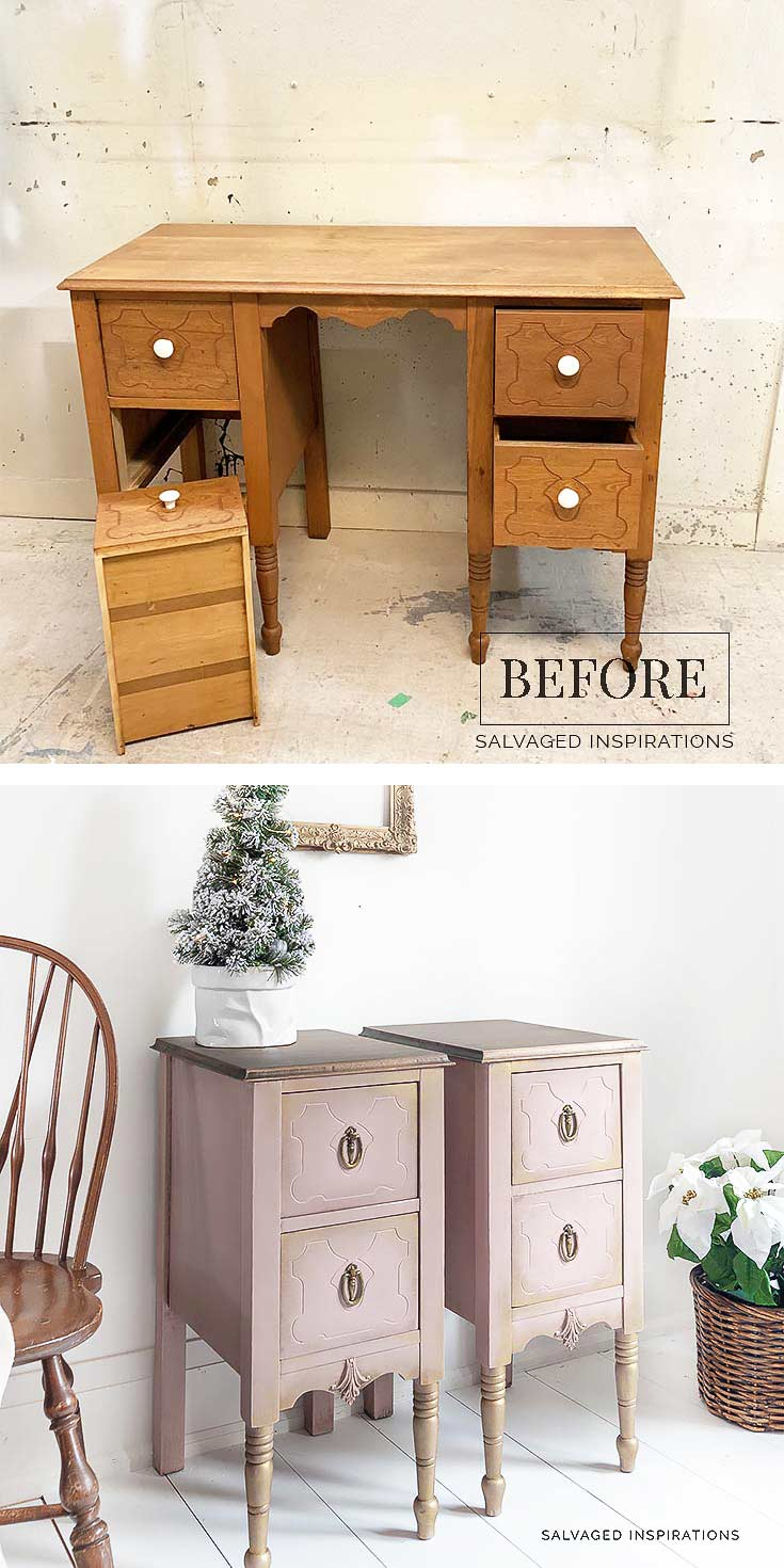 Wood Desk Into Nightstands Before and After