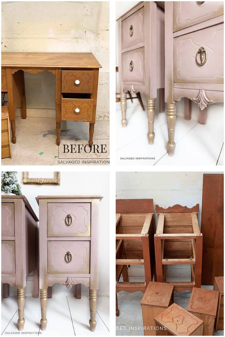 Wood Desk Into Vintage Nightstands