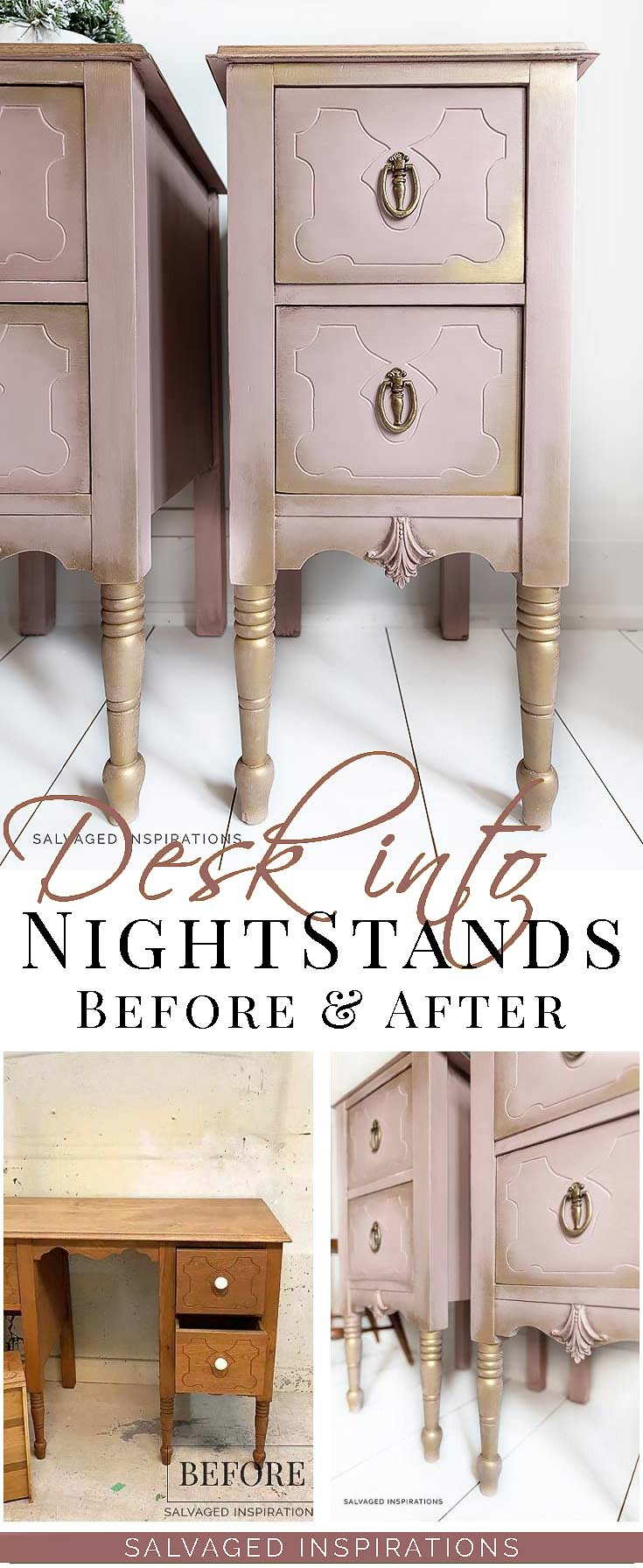 Wood Desk Turned Painted Nightstands