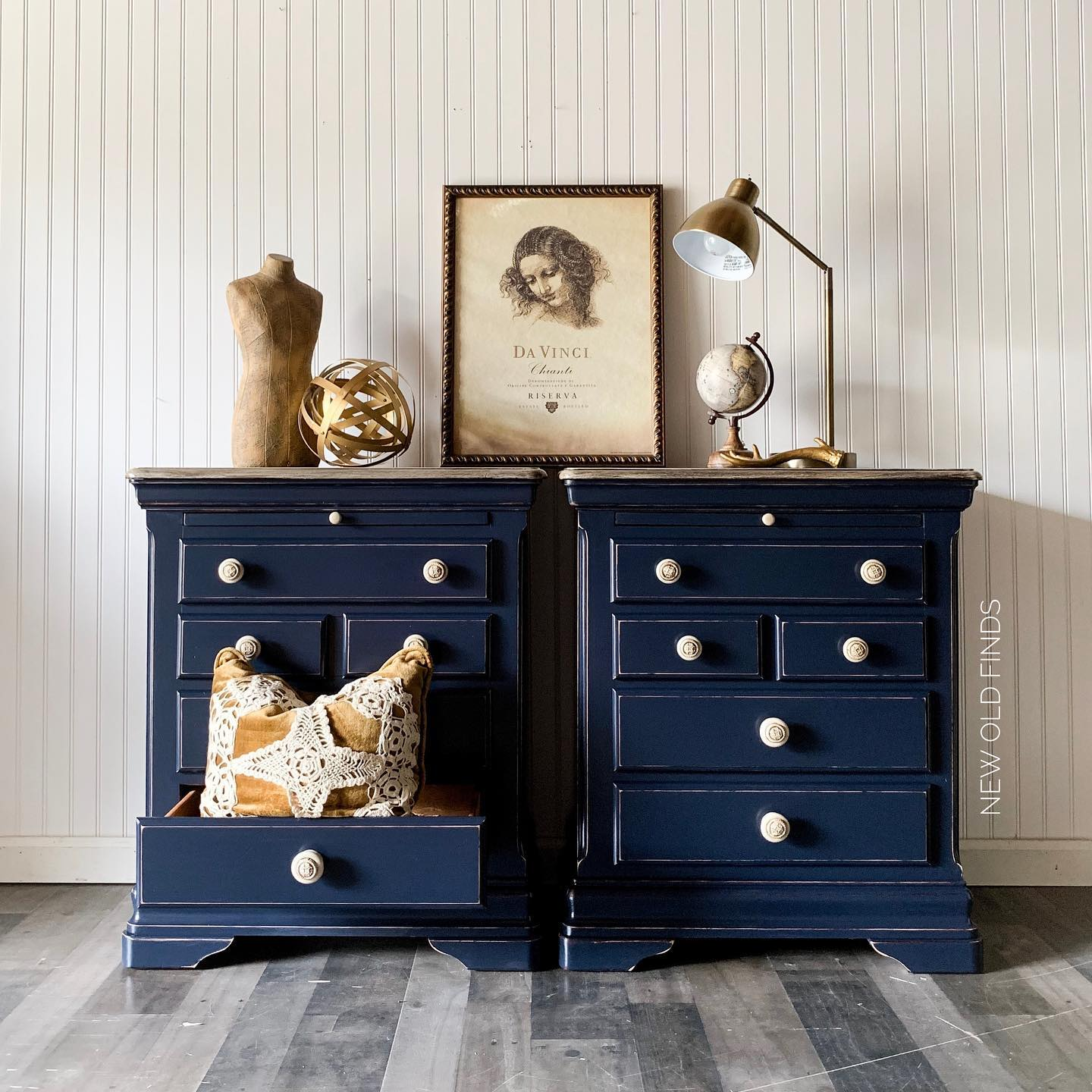 Blue Nightstands - Roz at New Old Finds