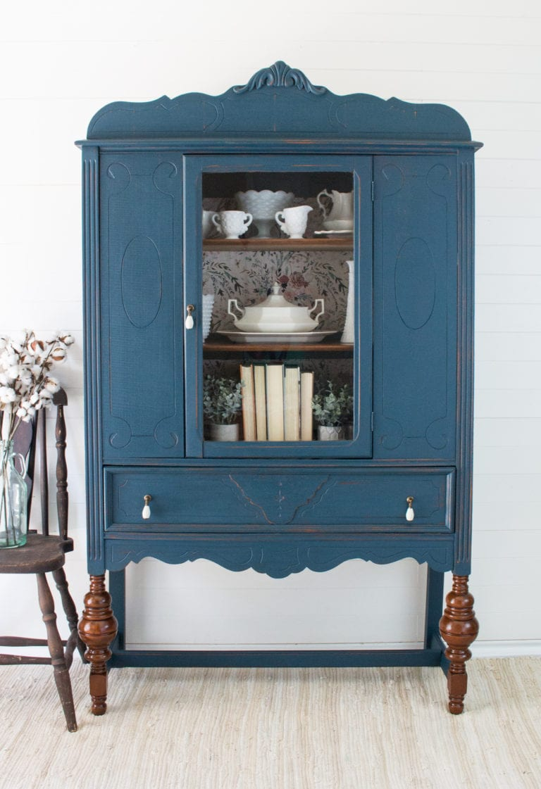 Blue Painted Cabinet by Crystal The Driftwood Home