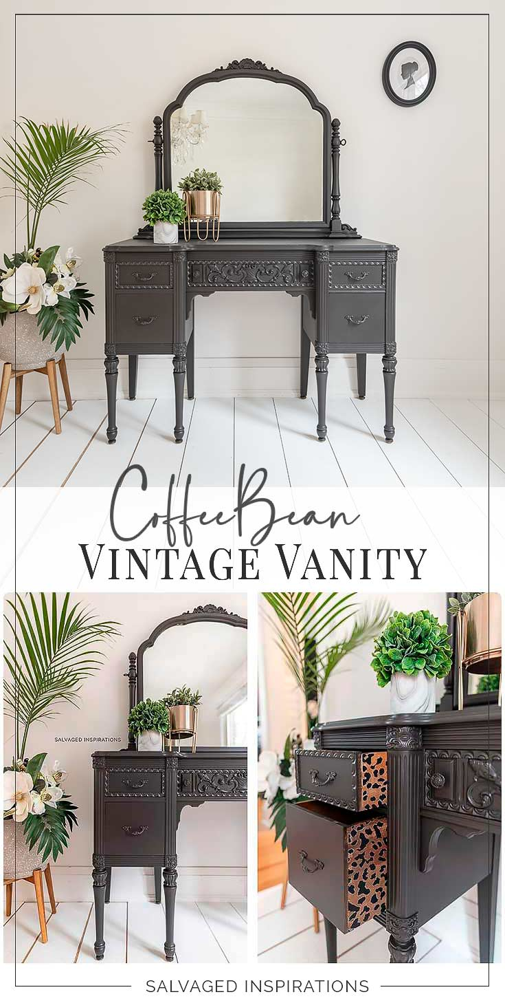 Coffee Bean Painted Vintage Vanity Makeover txt