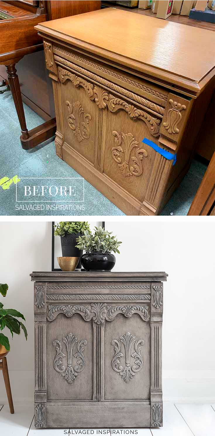 RH Greige Painted Sewing Cabinet Before and After