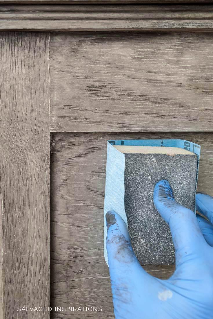 Sanding Painted Greige Wood Finish