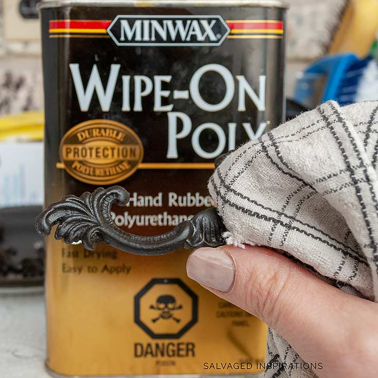 Topcoating Hardware w Minwax WipeOn Poly