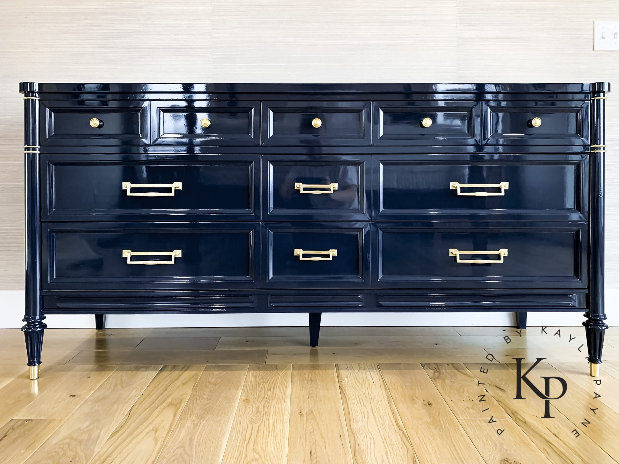 high-gloss-navy-dresser Painted by Kayla Payne
