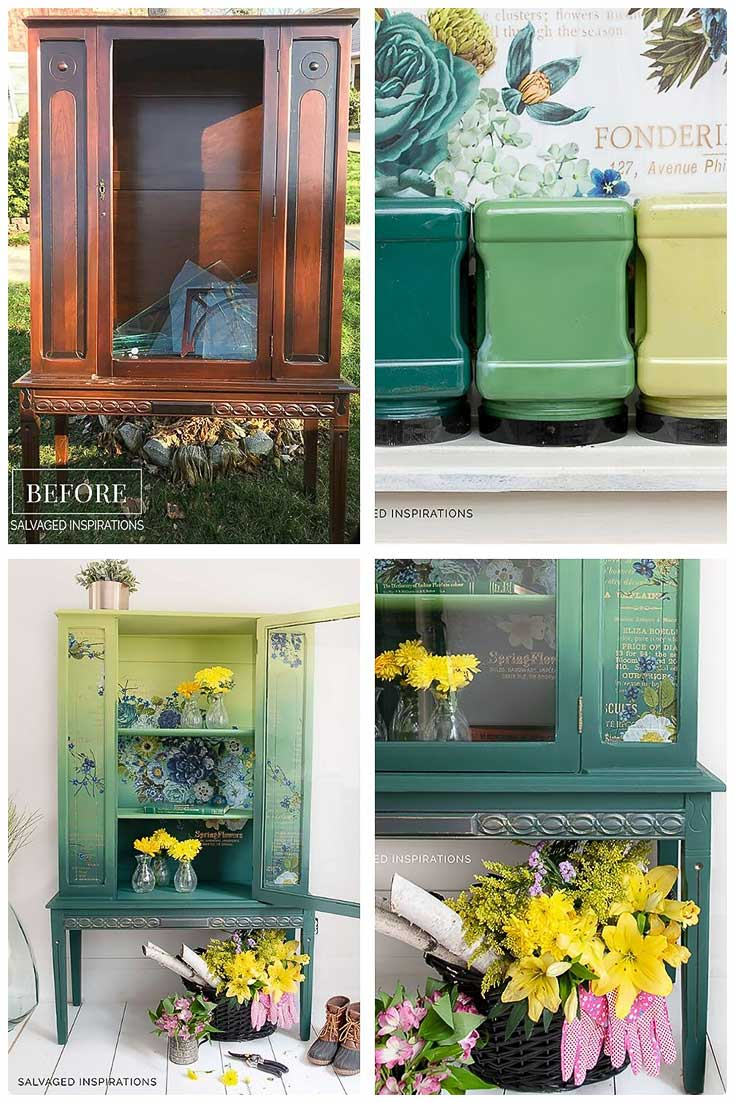 Before and After - Curb Shopped Painted China Cabinet