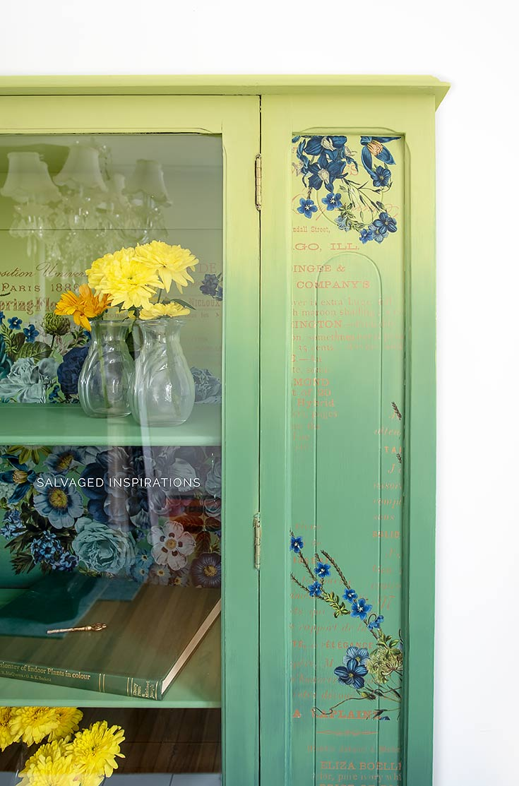 Close Up of Painted China Cabinet w Cosmic Roses