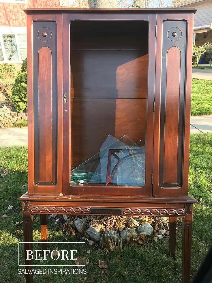 CurbShopped China Cabinet w Broken Glass