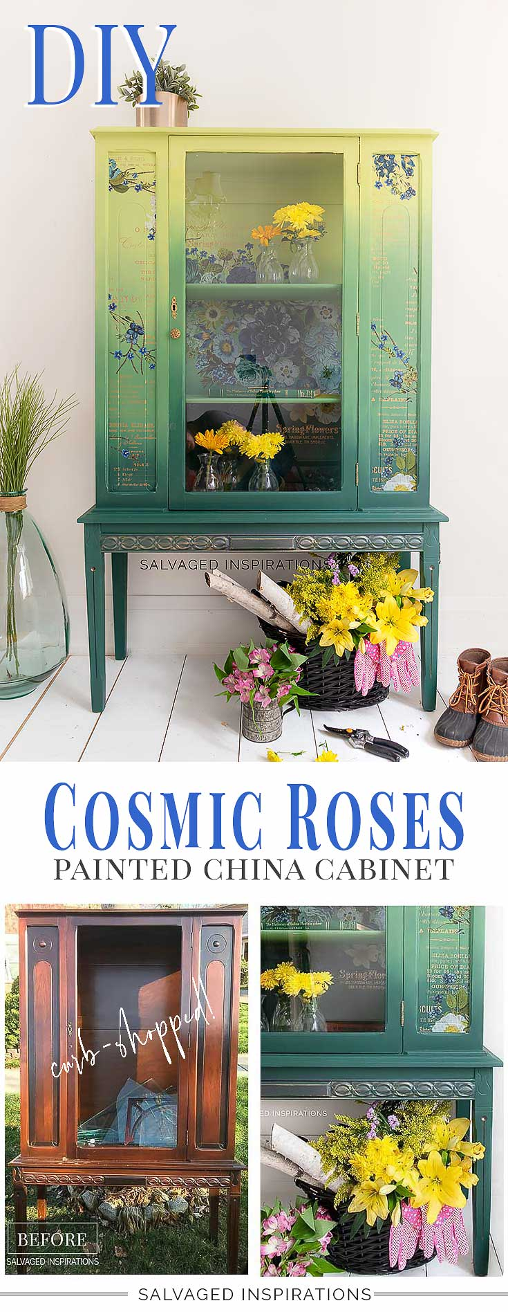 Painted China Cabinet w Cosmic Roses Furniture Transfer