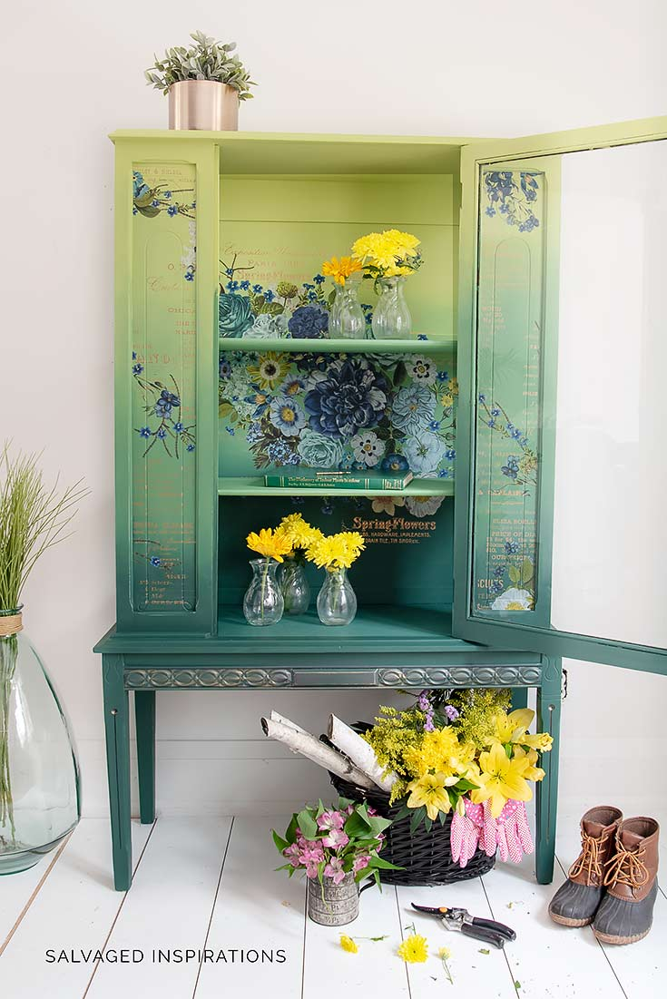 Painted China Cabinet w Cosmic Roses