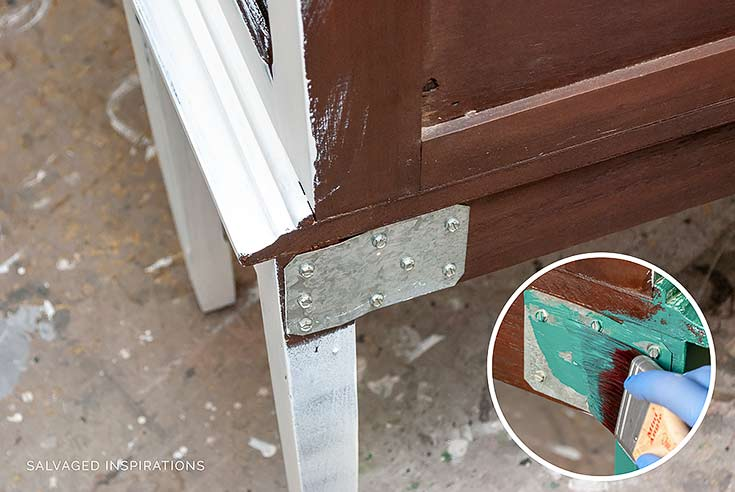 Painting Bolted Reinforcement on China Cabinet