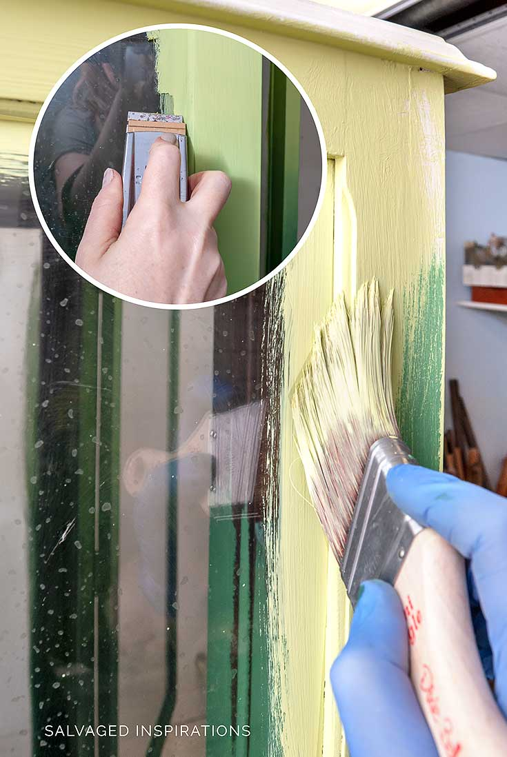 Painting China Cabinet & Removing Paint From Glass