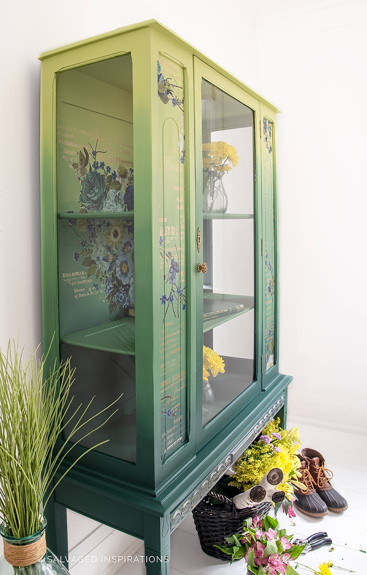 Side View of Painted China Cabinet w Floral Transfer